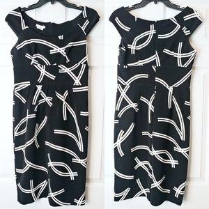 LONDON TIMES Size 8 Black A-Line Cap Sleeve Dress